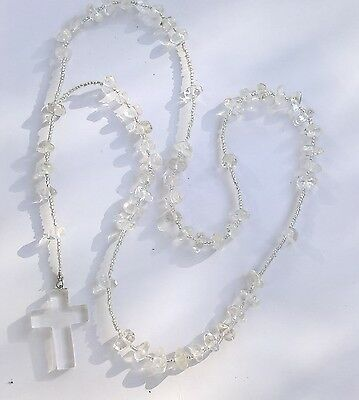 Clear Quartz Rosary beads necklace from casa dom inacio, blessed by John of God