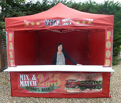 RED GAZEBO Mobile Catering Trailer market stall Ideal fast food car boot pubs