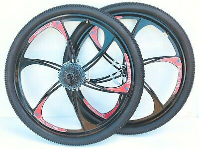 26 inch Mountain bike Magnesium Alloy wheels front & rear with cassette fitted