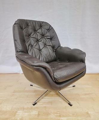Mid Century Retro Danish Brown Leather Swivel Lounge Easy Arm Chair 1960s 70s