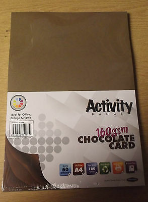 50 sheets of A4 CHOCOLATE Coloured Craft Card 160GSM