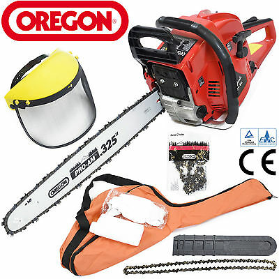 """Charles Jacobs 60cc Petrol CHAINSAW 20""""Bar OREGON Chain+Mask Gloves & Bag in Red"""