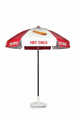Frankford Hot Dog Cart Umbrella- Red/White