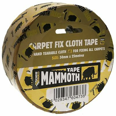EverBuild 50mm x 25m Mammoth Clear Double Sided Carpet Fix Cloth Tape Easy Tear