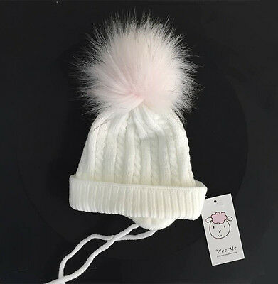 Gorgeous Infant Baby Faux Raccoon Fur Pompom Hat with Ties/White/Blue/Pink/1-18M