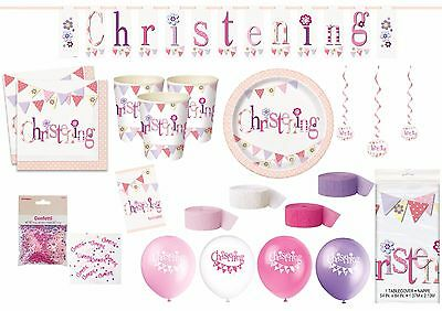 CHRISTENING PINK Tableware u0026 Decorations Plates Cups Tablecover Napkins Balloons  sc 1 st  PicClick UK & PINK GIRLS CHRISTENING Party Tableware Decorations Pink Elephant ...