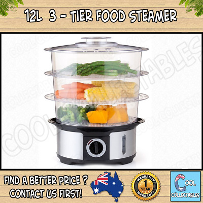 - New - 12L 3-Tier Food Steamer / Includes a steam egg socket & rice plate