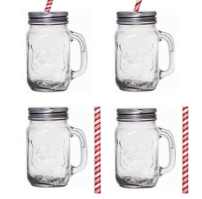 4pack Glass Mason Jars Jams Drinking Summer Cocktail With Handle Straw 450ml