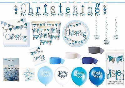 CHRISTENING BLUE Tableware & Decorations Plates Cups Tablecover Napkins Balloons