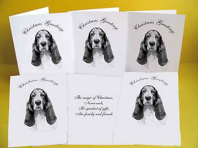 Basset Hound pack of 6 Dog Christmas Cards with a choice of 3 verse