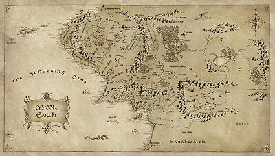 Map of Middle Earth Lord Of The Rings Poster T154 |A4 A3 A2 A1 A0|