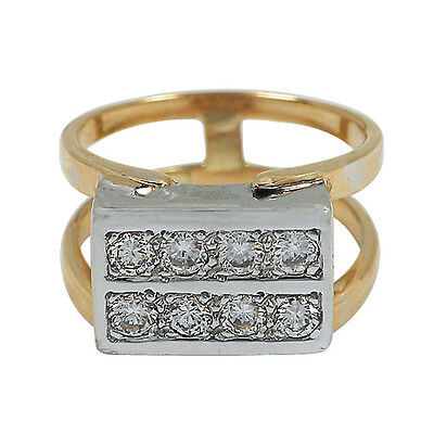 3390-14K Two-Tone Gold Double Diamond Bar Ring Approx 0.55Tcw 7.75Grams Size 6