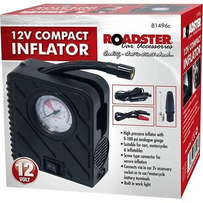 12V Car Compact Inflator Mini Tyre Air Compressor Pump With Torch Motorcycle Van