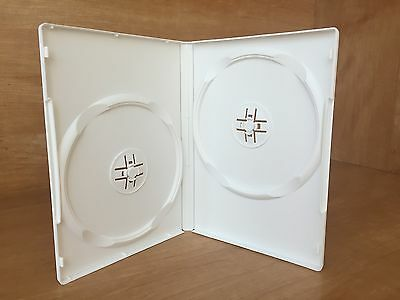 50 New High Quality 14Mm Double 2 Dvd Cd Cases, White
