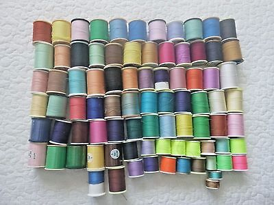 Lot of 84 Vintage Sewing Thread Spools Various Colors Sizes & Manufacturers