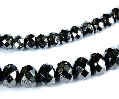 BLACK~RONDELLE~FACETED~NON MAGNETIC~HEMATITE BEADS , 6 x 4 MM~OR~8 x 6 MM