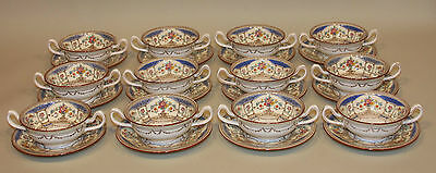 12 Minton England Hazlemere Blue China Footed Cream Soup Bowls and Saucers