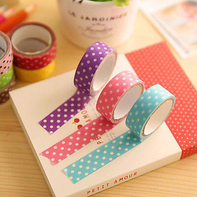 2/5 PCS 15MM Paper Sticky Adhesive Sticker Decorative Washi Tape Decor DIY New