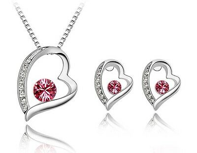 Diamante Crystal Silver Bridal Jewellery Set Earrings and Necklace.