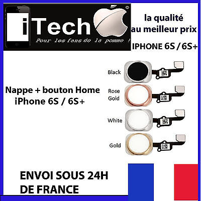 Bouton Home + Nappe Complet Iphone 6S / 6S Plus Noir Blanc Argent Or Rose