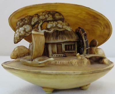 Japanese Vintage Clam Shell Netsuke 3 Dimension Diorama Sculpted Cottage Scene