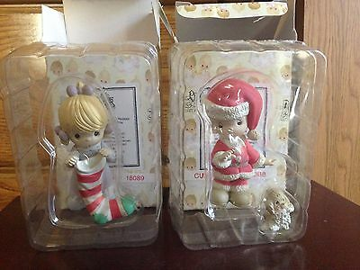 1995 Precious Moments Christmas Figures Girl with Stocking Boy in Santa Suit MIB