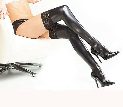 Fab Women Lady PU Leather Wet Look Thigh High Stockings With Lace Stay-up