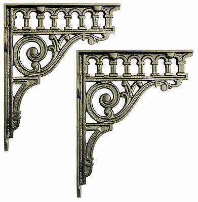"Pair of 8"" / 21cm Large Cast Iron Classical Shelf Brackets   period wall support"