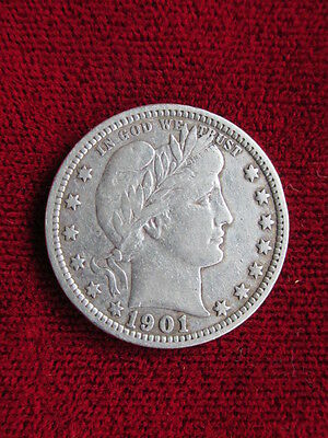 1901 Barber Quarter RAW COIN / VF details!