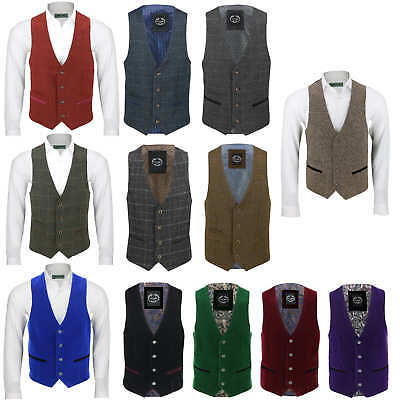 Mens Vintage Formal Tweed Herringbone Check Waistcoat Smart Casual Velvet Vest