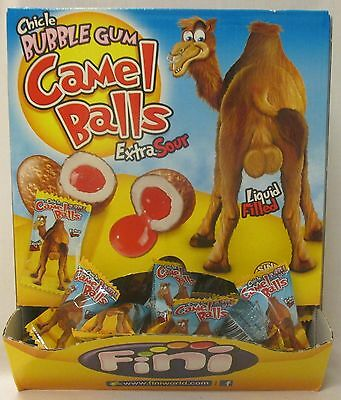 1Kg Box Of Fini Extra Sour Bubble Gum Camel Balls Liquid Filled Gluten Free