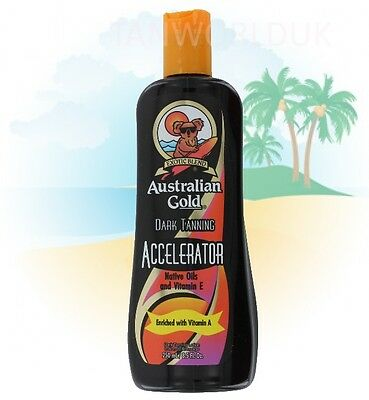 Australian Gold Dark Tanning Natural UVA Sunbed Accelerator Lotion Free Goggles
