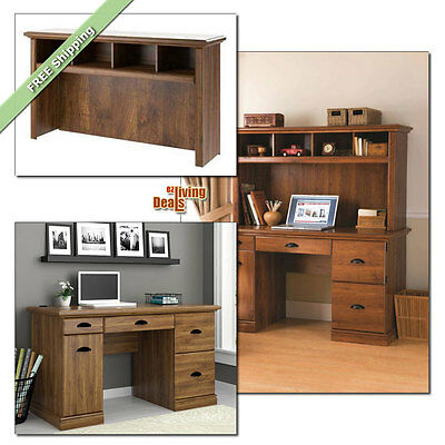 Computer Desk with Storage Home Office Furniture Wood Desks and Hutch, Abby Oak