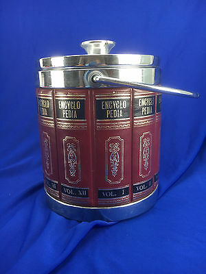 Whisky Ice Bucket Wine Cooler Encyclopedia Cover Silver Handle Vintage