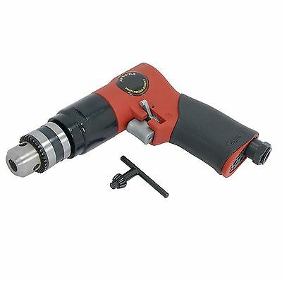 "Keyed 3/8"" 1800RPM Reversible Air Drill Tool 90PSI With Chuck Key Compressor"