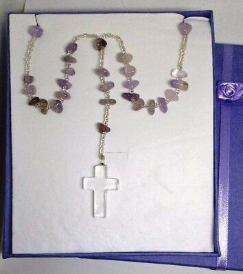 Amethyst Rosary beads necklace from casa dom inacio, blessed by John of God