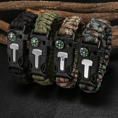 Survival Paracord Bracelet - Flint Fire Starter Whistle Compass Gear Tools Kit