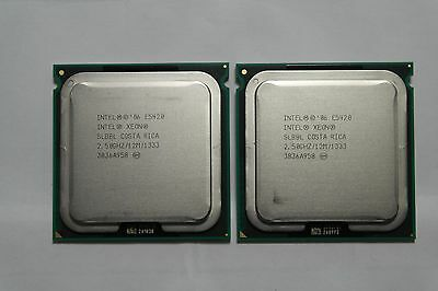 Matched pair of Intel Xeon E5420 2.5GHz Quad-Core SLBBL Processor w/Grease