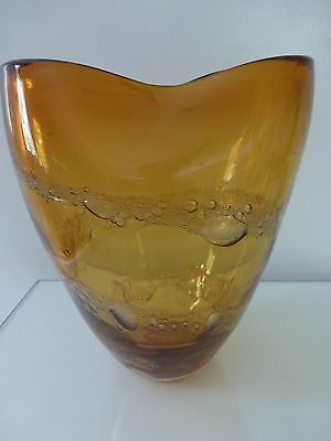 Contemporary Mid-Century Amber w/ Bubble Swirl Heavy Glass Vase