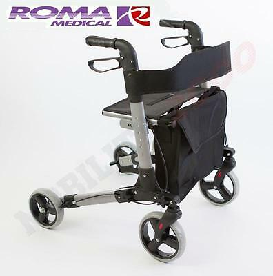 Roma City Walker Lightweight Folding Rollator 4 Wheel Walking Aid Zimmer Frame
