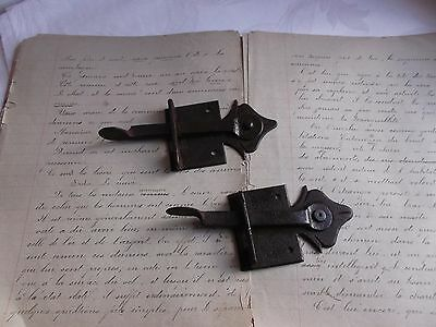 French antique rustic hardware  iron latch lock  c.1900 set of 2 • CAD $36.61
