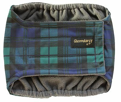 Waterproof Dog Belly Band Nappy / Diaper / Urine Marking - Black Watch Tartan