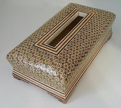 Persian Handcrafted Wooden Inlaid Khatam Marquetry Napkin Box/Holder