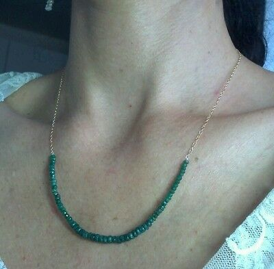 18 carats Genuine Emeralds on SOLID 14K gold Long 20 inch necklace