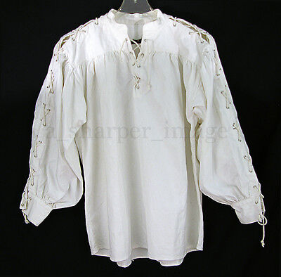 Laced Sleeves & Neck White Shirt Celtic/Colonial/Pirate/Renaissance Cosplay