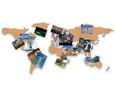 CORKBOARD MAP of the World Luckies Self Adhesive Cork & Pin Travel Destinations