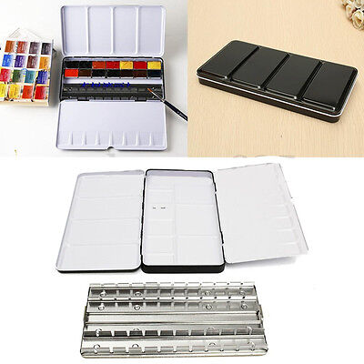 1Pc Solid Watercolor Empty Case Art Drawing Paint Iron Box 8.7x4.5x1'' 48 Colors