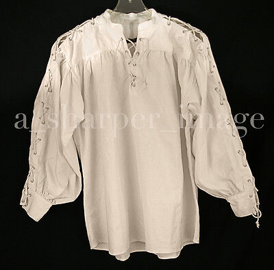 Celtic Laced Sleeves & Neck Shirt Beige Tan Pirate SCA Cosplay Renaissance