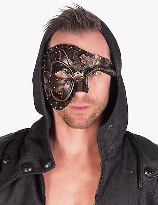 Steampunk Phantom Half Face Leather Masquerade Custom Ball Prom Party Mask Gold
