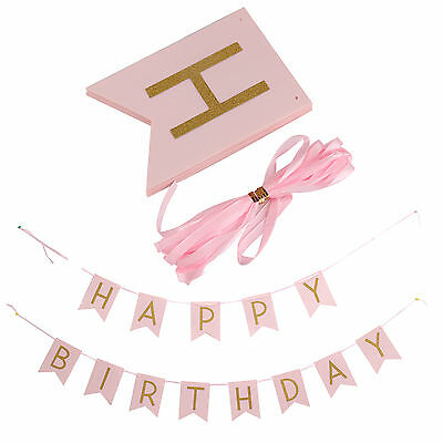 Pastel Happy Birthday Bunting Garland Gold Letters Party Hanging Banner Decor UK